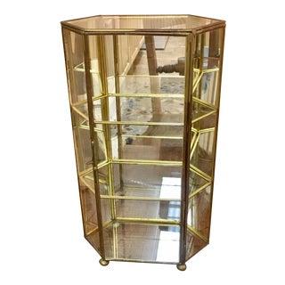 Mid-Century Modern Tabletop Glass & Brass Mirrored Display Case