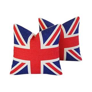 "17"" British Union Jack Linen Feather/Down Pillows - Pair"