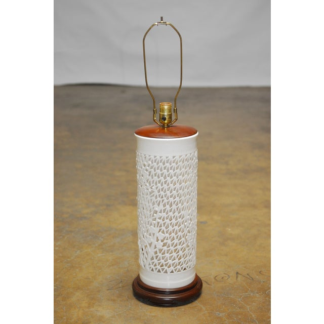 Blanc De Chine Reticulated Porcelain Table Lamp - Image 2 of 7