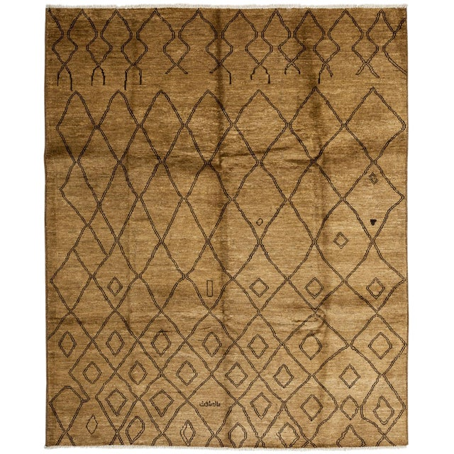 """New Moroccan Hand Knotted Area Rug - 8'3"""" x 10'1"""" - Image 1 of 3"""