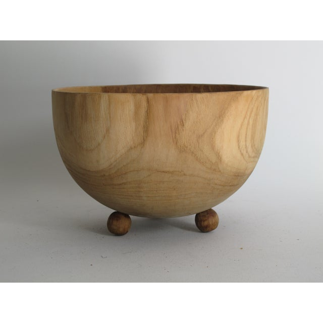 Carved Solid Wood Bowl with Bun Feet - Image 4 of 7