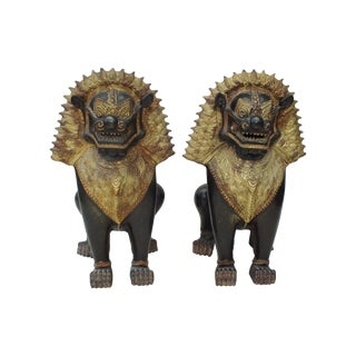 Chinese Tibetan Guardian Lions Foo Dog Statues
