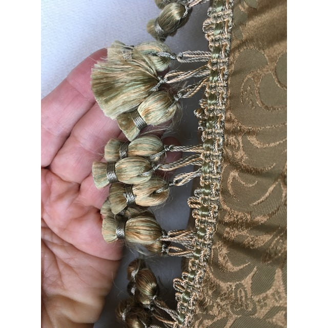 French Antique Silk Damask Pillow - Image 9 of 11