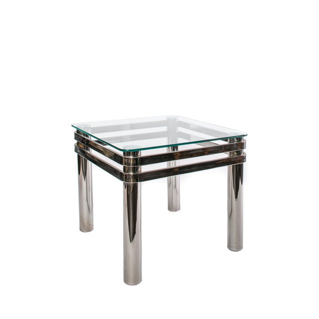 1970 Chrome & Glass Side Table - Image 2 of 2