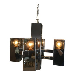 Robert Sonneman Chrome & Lucite Chandelier