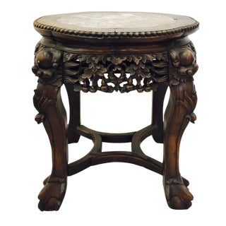 Chinese Carved Rosewood & Marble Table