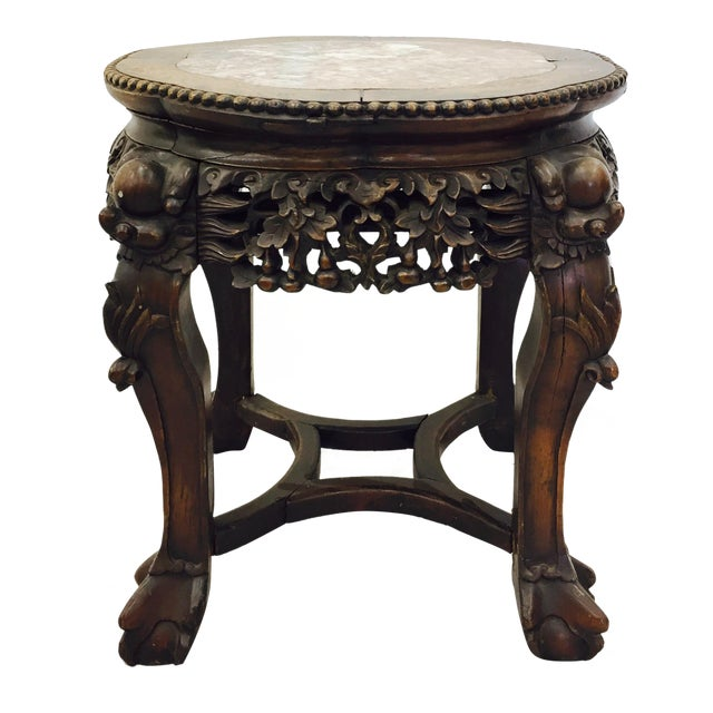Chinese Carved Rosewood & Marble Table - Image 1 of 11