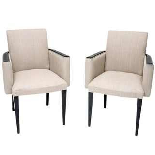 French Art Deco Beige Linen Upholstered Armchairs- A Pair