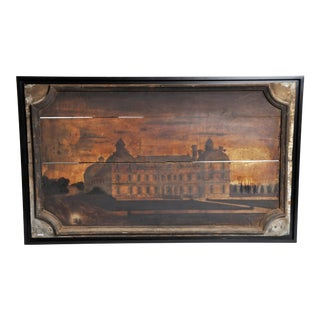 "French ""Boisserie"" Painting of a Chateau on Walnut Wood"