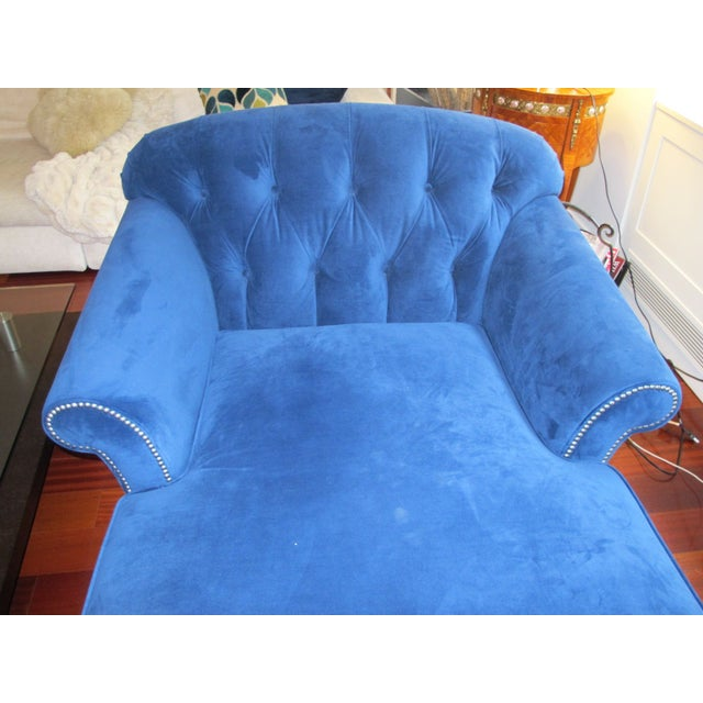Navy blue chaise lounge chair chairish for Blue chaise lounge