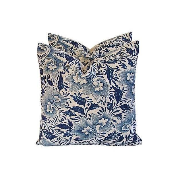 Indigo Blue Floral Linen Pillows - a Pair - Image 2 of 7