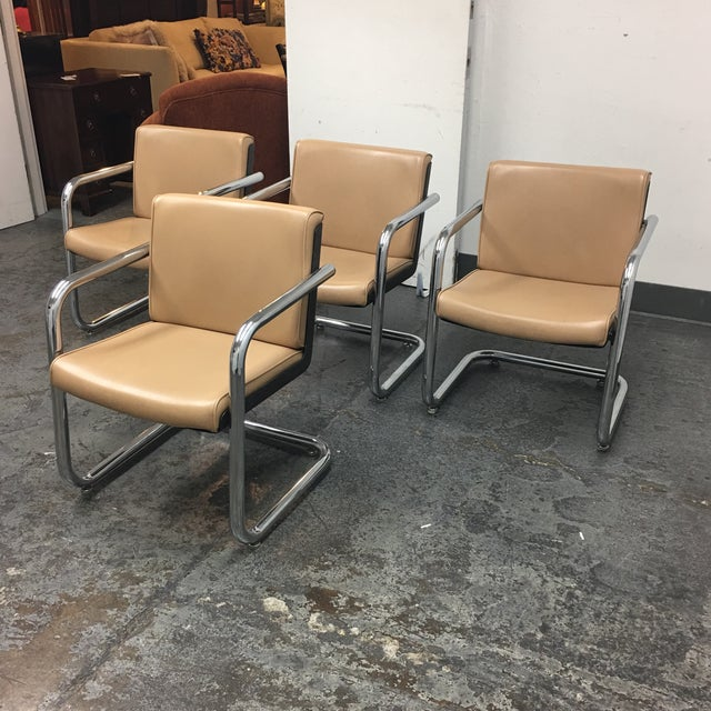 Krueger Tan Faux Leather and Chrome Armchairs - Set of 4 - Image 3 of 7