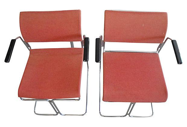 Harter Mid Century Modern Red Chairs   A Pair   Image 2 Of 5