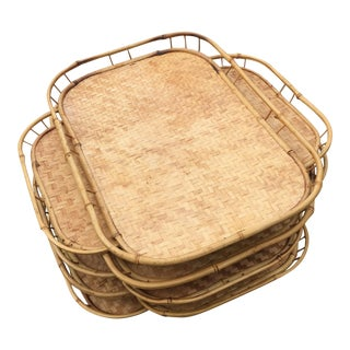 Vintage Woven Rattan Bamboo Tiki TV Trays - Set of 8