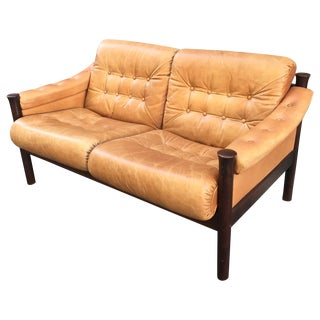 Norwegian Rosewood & Leather Settee by Bruksbo