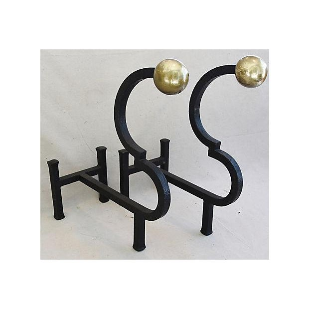 Vintage Monumental Pair Heavy Iron & Brass Fireplace Andirons - Image 11 of 11