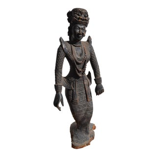 Antique Asian Wooden Goddess With Carved Mask Headdress