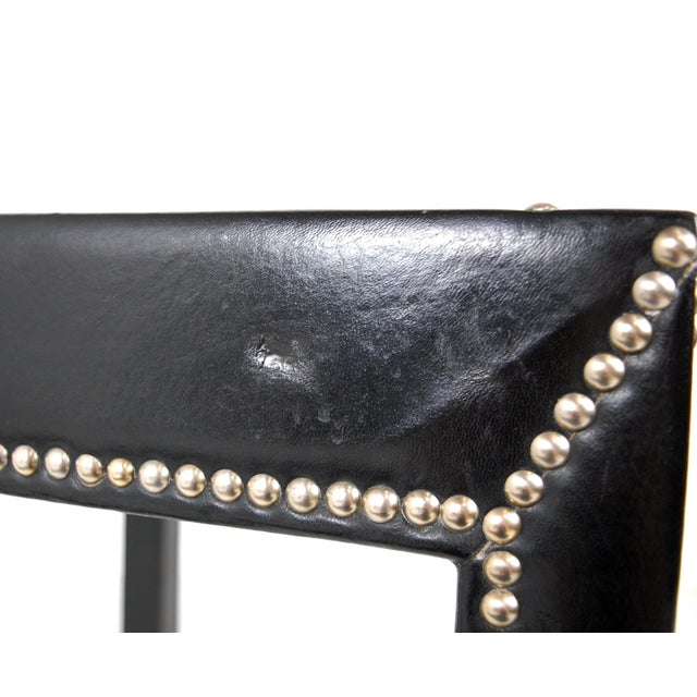 Italian Black Leather Studded End Tables - A Pair - Image 9 of 10