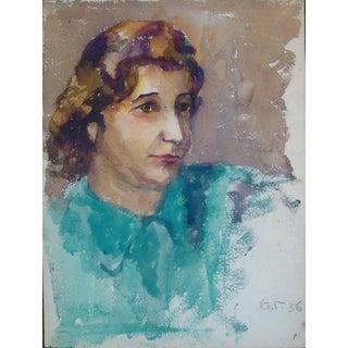 Vintage 1930s Watercolor Portrait of Woman in Blue