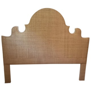 Raffia Cal-King Headboard with White Piping