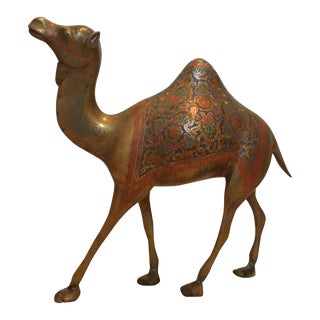 Egyptian Brass Camel with Colored Sketching