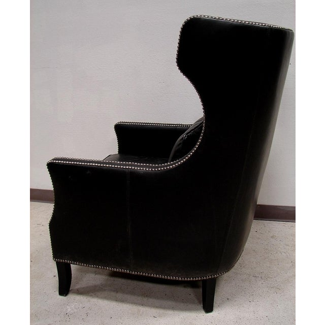 Bernhardt Black Saddle Leather Wingback Chair - Image 4 of 4
