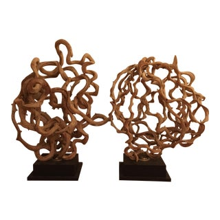 Abstract Vine Lamps - A Pair