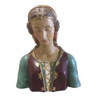 Hand Painted Paper Mache Female Bust