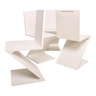Set of 4 Zig Zag Chairs in White Color
