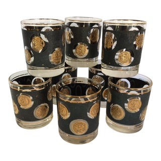 1960's Libbey Gold Coin & Black Textured Lo-ball Glasses - Set of 8