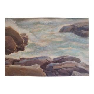 James Bonelli Mid-Century Seascape Ocean Surf Painting