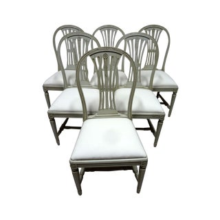 Swedish Wood Back Dining Chairs - Set of 6