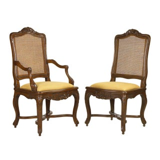 Regency Caned Arm Side Dining Chairs - Set of 8