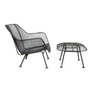 Mid-Century Sculptura Garden Lounge Chair and Ottoman by Woodard