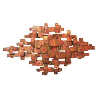 Cliff Hyink Brutalist Cubist Brass Wall Art