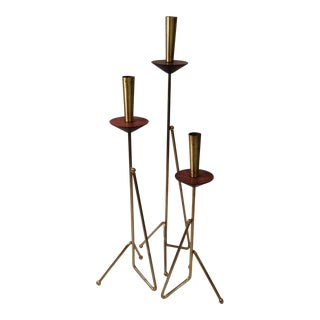 Set of Brass and rosewood candle stick holders
