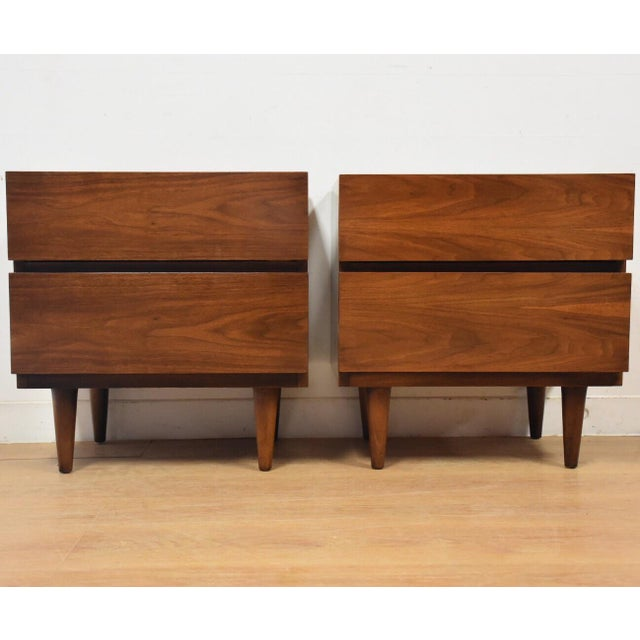 Image of American of Martinsville Walnut Nightstands- a Pair