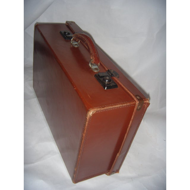 Vintage English Brown Leather Suitcase - Image 5 of 11