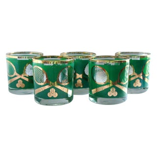 Vintage Tennis Green Gold High Ball Glasses- Set 5