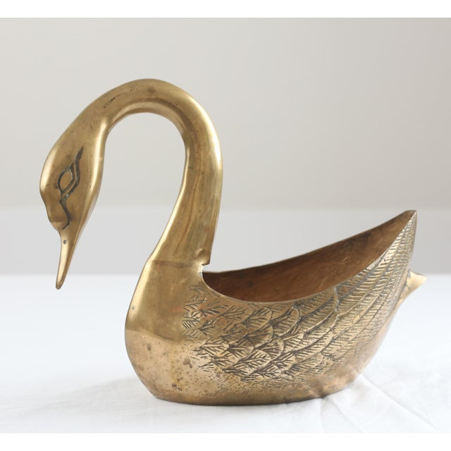 Image of Large Brass Swan Planter