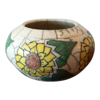 Hand Painted Sunflower Studio Pottery Ceramic Decorative Bowl
