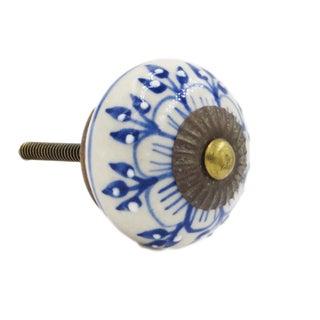 Blue Zinnia Flower Knobs - Set of 6