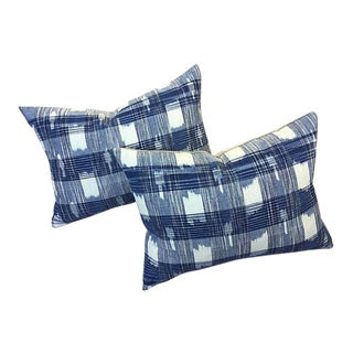 Hand Woven Indigo Ikat Pillows - a Pair