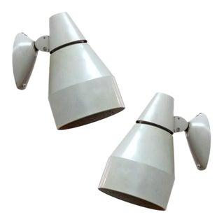 Pair of Kaiser Light Gray Enameled Metal Wall Lamps