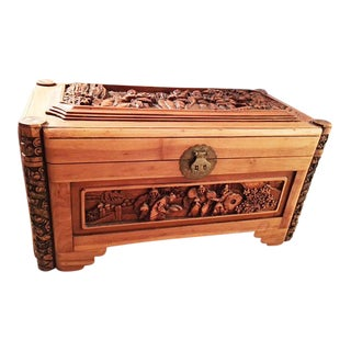 Wooden Carved Chinese Trunk