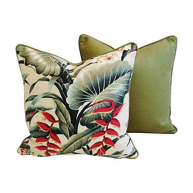 Lush Tropical Floral Barkcloth Pillows - Pair - Image 5 of 7