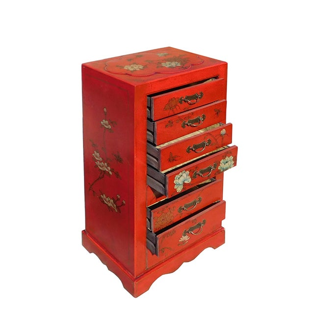 Miniature Red Vinyl Flower & Butterflies Chest of Drawers - Image 5 of 6