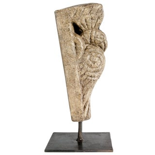 Vintage Architectural Stone Carving On Iron Stand
