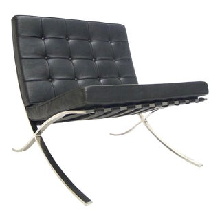 Early Black Leather Tufted Mies Van Der Rohe Barcelona Chair by Knoll