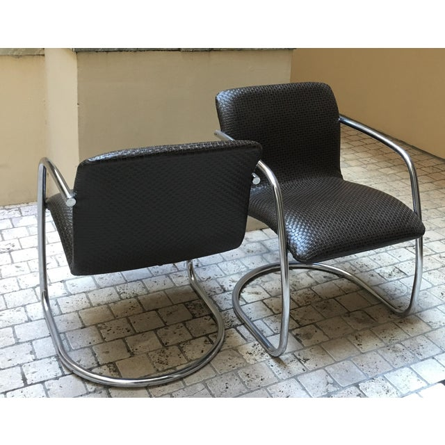 Mid Century Chrome Basket Weave Chair - Pair - Image 3 of 8